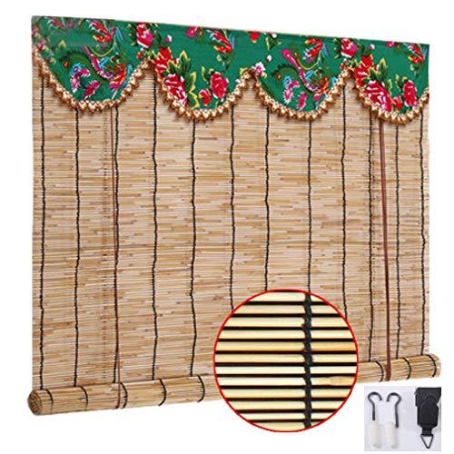 Reed Natural cortina - Persiana de bambú - Sun Cortinas de sombra, hecho a mano retro decorativo partición de sombra Cortina, con elevador, for el dormitorio del hogar de estar Oficina de habitaciones