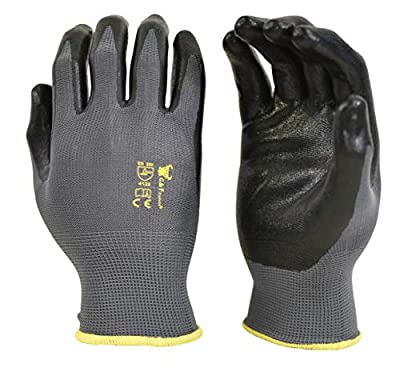 6 PAIRS Men's Working Gloves with Micro Foam Coating - Garden Gloves Texture Grip - men's Work Glove For general purpose, construction, yard work, Large