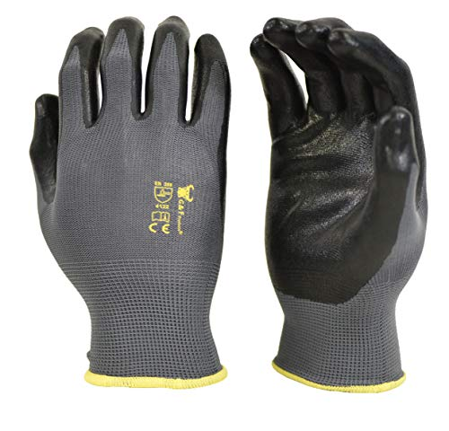 G & F 15196L Seamless Nylon Knit Nitrile Coated Work Gloves, Garden Gloves, Black,...