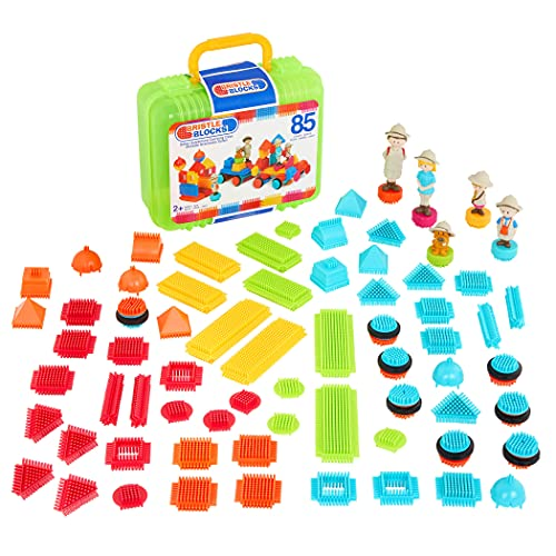 Bristle Blocks by Battat – The Official Bristle Blocks – 85 Pieces in a Carry Case – STEM Creativity Building Toys for Dexterity and Fine Motricity – BPA Free 2 years +, multi (3073Z)