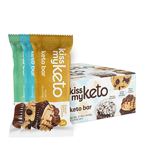 Kiss My Keto Bars — Keto Protein Bars Low Carb Low Sugar + MCT Oil | Variety, 12 Pack | Keto Snack Bars Rich in Nutritious Fats & Collagen — 10 Grams Protein, 4 Grams Net-Carbohydrate, 1 Gram Sugar