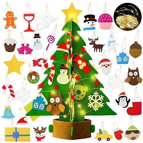 Bageek Albero di Natale in Feltro per Bambini Decorazioni Natalizie Regali Natale Christmas Craft Kit con 29 Decorativo Ornamenti