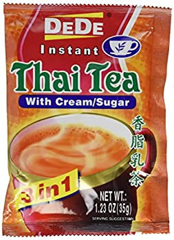 Unknown DEDE Instant Thai Tea Drink with and Sugar 12 Pockets cream 14.76 Ounce