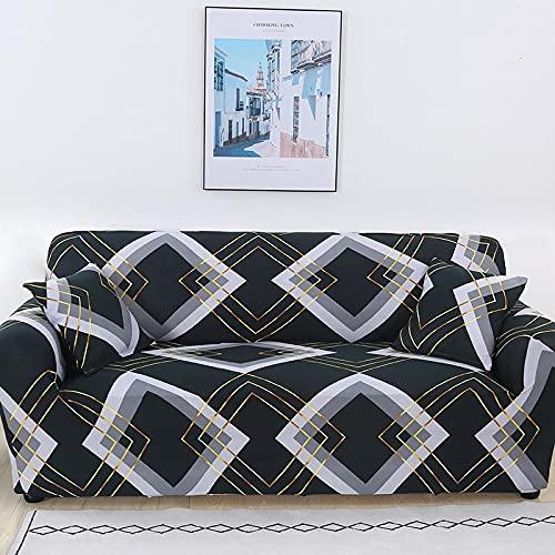 Funda de sofá elástica a Rayas Doradas, Funda de sofá Universal de Spandex, Funda Protectora para Muebles, Funda de sofá, decoración del hogar, A4, 4 plazas