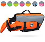 Vivaglory Dog Life Jackets with Extra Padding for Dogs, Small - Extra Reflective Orange