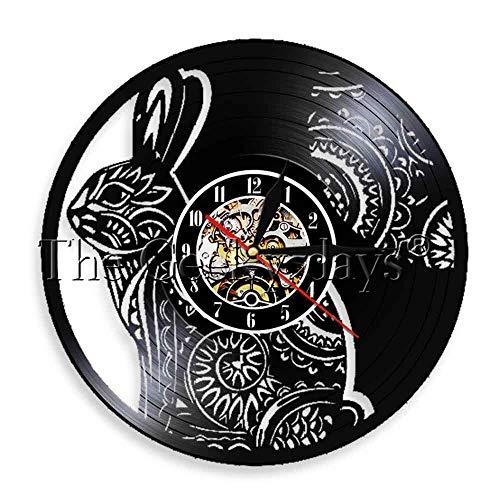 Reloj de pared de conejo blanco vinilo time clocwood mesa lámpara de mesa lámparas de mesa de noche lámpara de mesa de batería