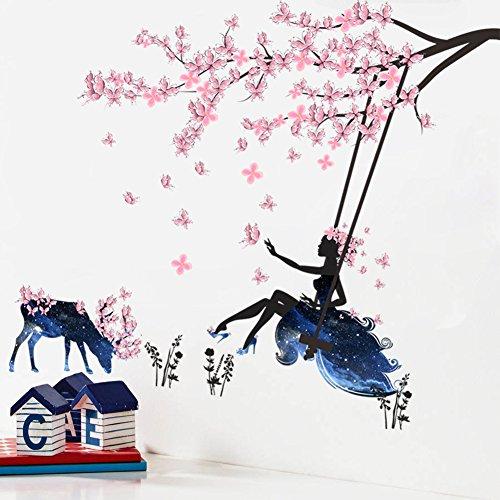 Wallpark Romantique Rose Papillon Fleur Arbre Balançoire Fleur Fée Fille en Bleu Étoilé Ciel Jupe Amovible Stickers Muraux Autocollants, Enfants Bébé Chambre Pépinière DIY Décoratif Stickers Mural