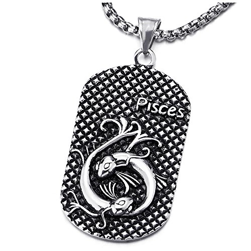 COOLSTEELANDBEYOND Vintage Stainless Steel Horoscope Zodiac Signs Pisces Dog Tag Pendant Necklace Oxidized Black with 30 inches Wheat Chain, Twelve Constellations, Mens Women