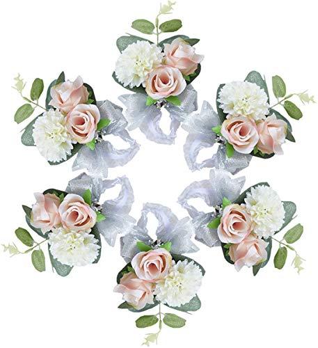 OIJN Pulsera de encaje rosa de simulación de flores para novia, dama de honor, para mujer, para fiesta de graduación, juego de seis