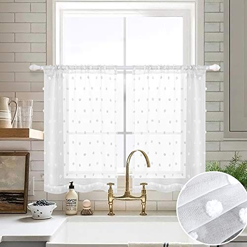 Short Curtains 36 Inch Length for Kitchen Windows Set 2 Pack Sheer Pocket Little Dot Pom Pom Decor Textured Small Half Cafe Curtain Valance White Kitchen Tiers 36 Length for Bathroom Camper 30x36 Long