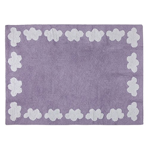 Happy Decor Kids hdk-212 Tapis lavable Cenefa Clouds, Violet, 120 x 160 cm