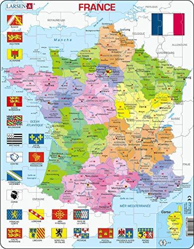 Larsen A5 Mapa Político de Francia, edición en Francés, Puzzle de Marco con 70 Piezas