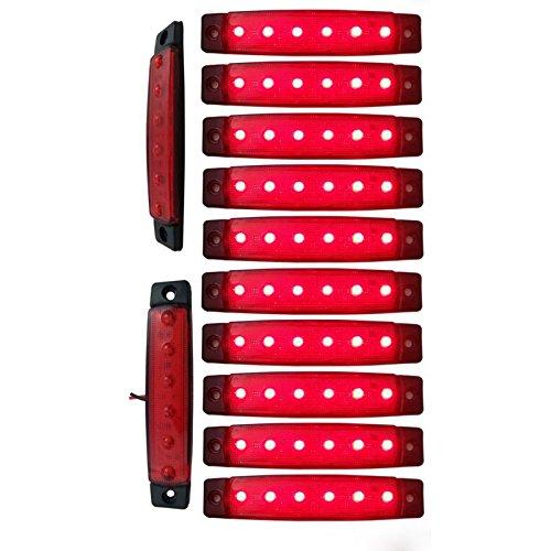 YUK 10 luces LED laterales de ,6 luces LED para señalización de remolque, para camiones, luz de marcador, ámbar, luz de marcador lateral trasera, luces de señalización de cabina de camión(rojo)