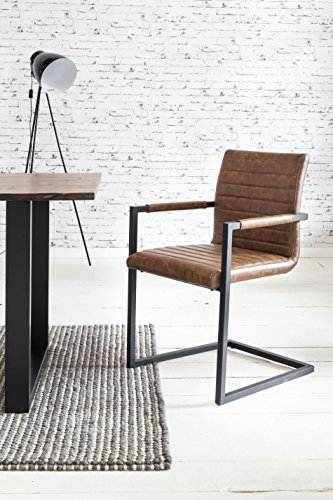 SalesFever 2er Set Stilvoller Armlehnstuhl Alessia in Hellbraun, Stuhl in elegantem Design, Esszimmerstuhl mit Kunstleder bezogen, schwarz lackiertem Fuß