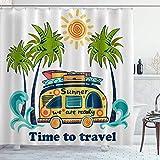 DYCBNESS Duschvorhang,Summer Bus Camper Palmen,Vorhang Waschbar Langhaltig Hochwertig Bad Vorhang Polyester Stoff Wasserdichtes Design,mit Haken 180x180cm