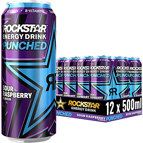Rockstar Energy Drink Super Sours Blue Raspberry - Saures, koffeinhaltiges Erfrischungsgetränk für den Energie Kick, EINWEG (12x 500ml)