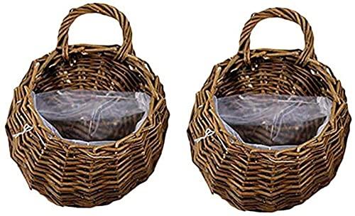 2 cestas de flores para colgar en la pared, macetas de mimbre hechas a mano, flores artificiales para colgar cestas de flores, utilizadas para jardín, boda, decoración de la puerta