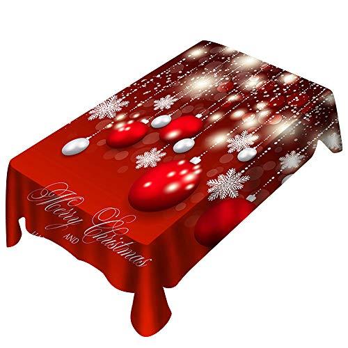 Bolanq - Tovaglia rettangolare con stampa natalizia, decorazione per la casa, Fibra di poliestere (poliestere)., Rosso, 150x300cm