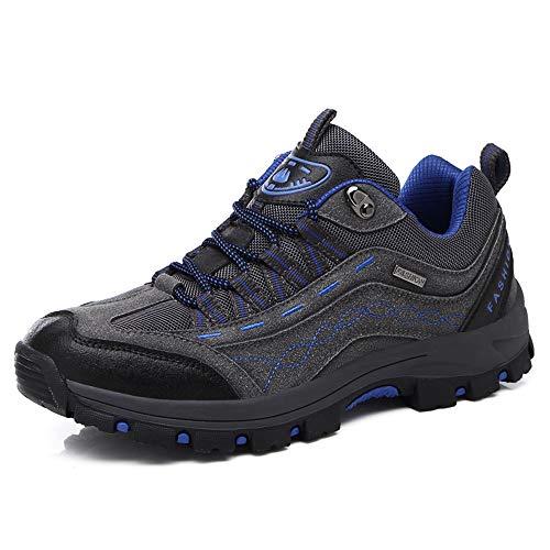 REBEST Wanderschuhe Damen Trekkingschuhe Herren rutschfest Outdoor Schuhe Wanderstiefel Anti-Rutsch Wanderstiefel atmungsaktiv Wandern Hiking Sneaker, Grau/Blau, Gr. 40