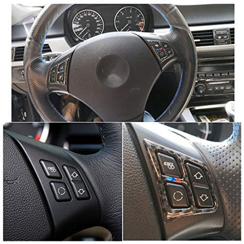 WANGZHEXIA Tira de protección del coche tres colores de fibra de carbono volante coche clave marco decorativo etiqueta para BMW E90 2005-2012