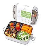Ecozoi LEAK PROOF Stainless Steel 3 COMPARTMENT Eco Lunch Box   REDESIGNED Silicone Seal & Easy to...