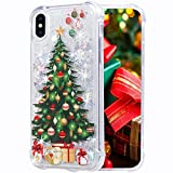 iPhone X Case, Flocute iPhone Xs Glitter Chrismas Case Bling Sparkle Floating Liquid Soft TPU Cushion Luxury Fashion Girls Women Cute Case for iPhone X XS (Christmas Tree)