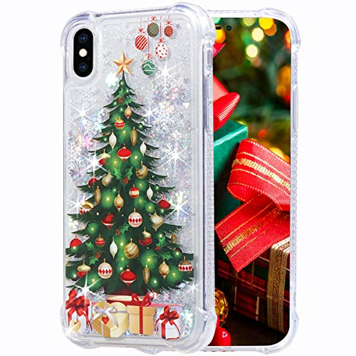 Flocute iPhone X Case, iPhone Xs Glitter Chrismas Case Clear Bling Sparkle Floating Liquid Soft TPU Cushion Luxury Fashion Girls Women Cute Case for iPhone X XS (Christmas Tree)