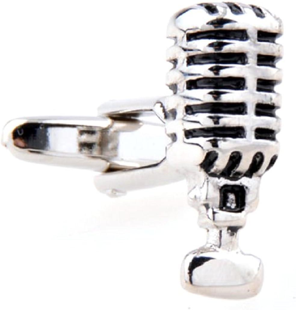 MRCUFF Microphone Radio MC DJ TV Audio Old School Style Pair Cufflinks in a Presentation Gift Box & Polishing Cloth