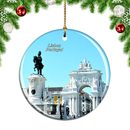 Weekino Portugal Commercial Square Lisbon Christmas Xmas Tree Ornament Decoration Hanging Pendant Decor City Travel Souvenir Collection Double Sided Porcelain 2.85 Inch