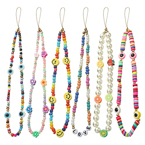 6PCS Beaded Phone Lanyard Wrist Strap Face Beaded Phone Charm Fruit Star Pearl Rainbow Color Beaded Phone Chain Strap for Women Girls