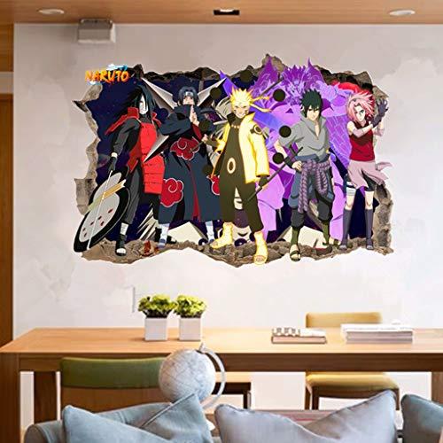 Adesivo da parete effetto 3D Stickers 3D wall sticker naruto murales murali decalcomanie uzumaki naruto sasuke uchiha muro rotto decorativo decorativo vinile carta da parati rimovibile per bambini dec