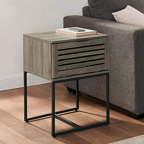 Walker Edison Furniture Company Modern Slatted Wood Square Side Accent Living Room Storage Drawer Small End Table, 18 Inch, Slate Grey