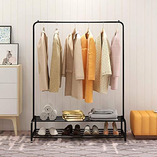 DUMEE Metal Garment Rack Heavy Duty Indoor Bedroom Clothing Coat Racks Hanger With Top Rod and Lower Storage Shelf Clothes Rack With 2-Tier Shelves Black