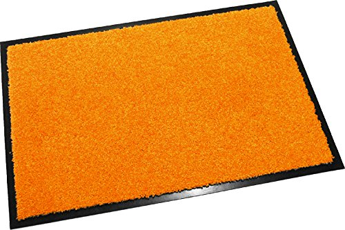 Hochwertige Fußmatte (Orange / 60x40 cm) waschbare Schmutzfangmatte - Höhe 8 mm - mit guter Wirkung gegen Nässe und Schmutz (bis zu 4L Wasser/m2)