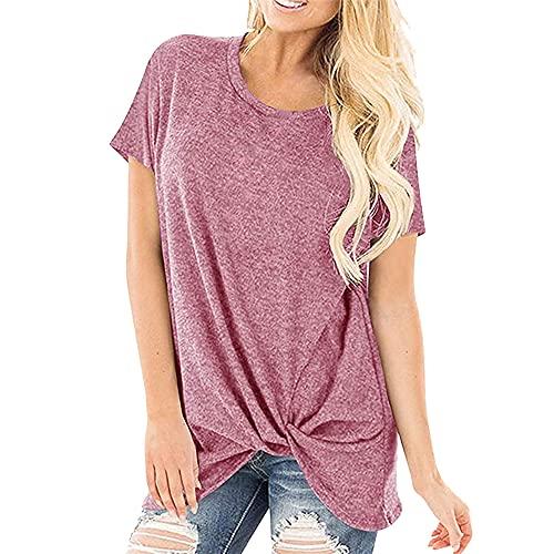 Verano Mujer Casual Cuello Redondo Manga Corta Camiseta con Parte Superior Trenzada Camisetas de Mujer Cuello Redondo Suelto Camiseta básica Deportiva con de Manga Corta con Casual Tops Sueltos