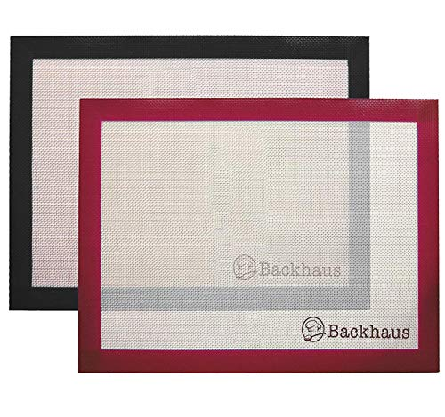 Premium Non Stick Baking Mat [x2] by Backhaus® Professional Grade Platinum Silicone Set - Best Reusable Baking Tray Liner for Easy & Healthy Baking (Burgundy & Black)