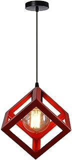 Simple Lámpara Colgante Industrial en Forma de Cubo Luz de Techo Colgante Retro Vintage E27 40W Araña, Rojo