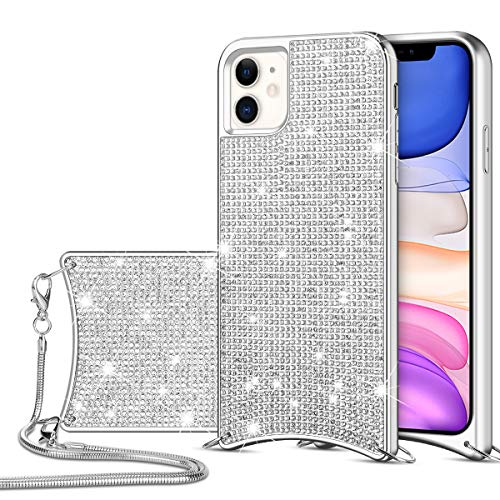 HoneyAKE Case for iPhone 11 Case Glitter Bling Diamond Rhinestone with Crossbody Chain Strap Case Durable Hybrid TPU Bumper Anti-Slip Back Protective Cover for iPhone 11 6.1 inch Silver