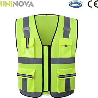 Uninova Safety Vest High Visibility - Multi Pockets Reflective Vest for Men & Women - ANSI/ISEA Standards (Medium, YELLOW-02)