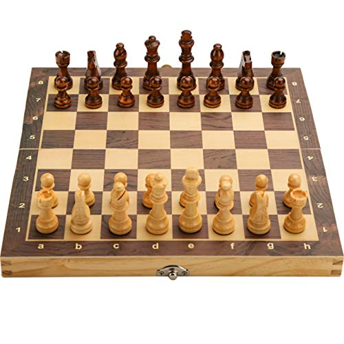 15' x 15' Magnetic Wooden Folding Chess Set with 2 Extra Queens, Handmade Game Board Interior for Storage for Adult Kids Beginner Large Chess Board