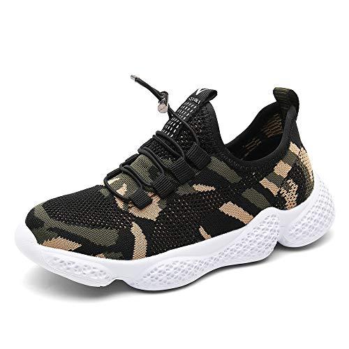 PAMRAY Kinder Sportschuhe Jungen Mädchen Running Sneaker Outdoor Turnschuhe Schnürer Laufschuhe Freizeit Hallenschuhe Atmungsaktiv Camouflage 35