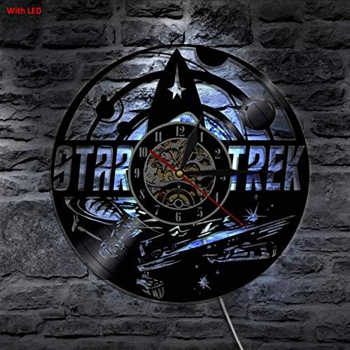 txyang Star Trek Vinyl Uhr Wandleuchte Led Vintage LP Rekord handgemachtes Geschenk Lampe Farbwechsel Coole Wohnzimmer Inneneinrichtung