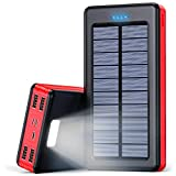 30000mAh モバイルバッテリー ソーラー ポータブル充電器 大容量 iphone 急速 充電器 Lightning/Type-C/Micro USB 入力ポート バッテリー ソーラー 4USB出力ポートバッテリーモバイル ソーラー