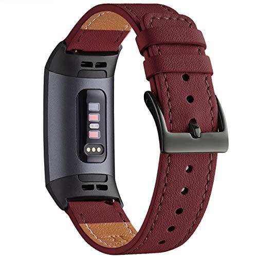 WFEAGL Armband Kompatibel für Fitbit Charge 3 Armband/Fitbit Charge 4 Armband Leder, Klassisch Einstellbares Ersatzarmband Sport Kompatibel für Fitbit Charge 3/4 (Wein/Schwarz)