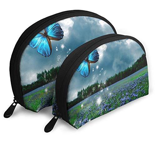 XCNGG Aufbewahrungstasche Schöne Blue Butterfly Art Tragbare Reise Make-up Handtasche Wasserdichte Toilettenartikel Organizer Aufbewahrungstaschen