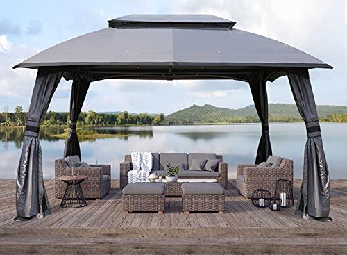 ABCCANOPY Gazebo 10x13 Patio Gazebo, Double Soft-top Garden Gazebos with Mosquito Netting for...