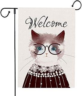 Monena Welcome Garden Flag Cute Cat، علم الفناء الجميل من الديكور الخارجي الموسمي ، علم خيش مزدوج الوجهين 12.5 × 18 بوصة