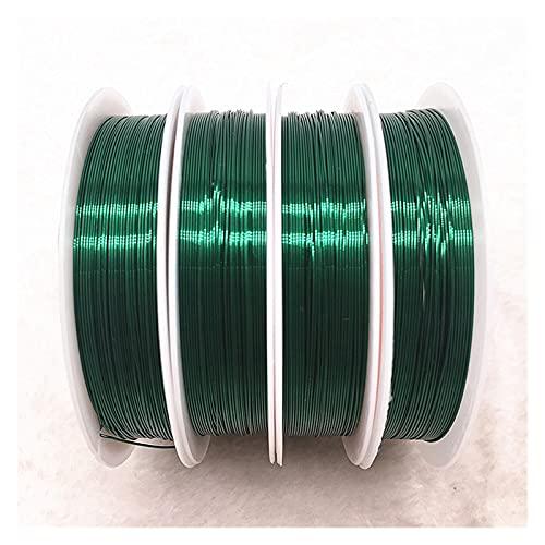 Artesanía de bricolaje Cables de cobre coloridos Cable de abalorios para joyería que hace bricolaje pulsera para arte de uñas de bricolaje, abalorios de joyer ( Color : Green , Size : 0.3mm(17m) )
