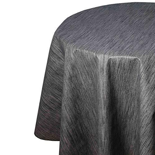 DecoHomeTextil Mantel de hule para mesa de jardín de lino en relieve, gris, antracita, redondo, 135 cm, lavable, plegado
