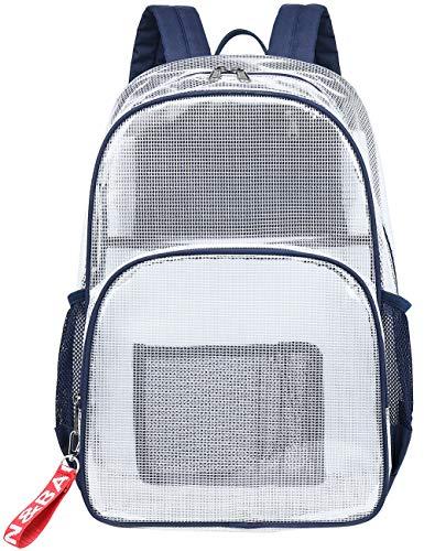 Mygreen Heavy Duty Clear Bookbag Durable Plastic Transparent Clear Backpack for School Work Boy Men (Dark Blue, Large)
